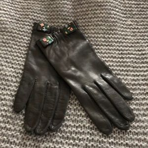 Accessories - Vintage shorty black leather gloves